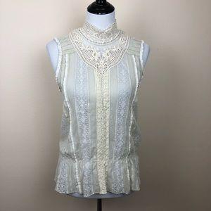 Tiny for Anthropologie lace peplum blouse medium